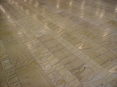 Words on the floor of Seattle Public Library